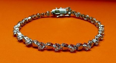 """Picture of """"A Heart for Zirconia"""" tennis bracelet in sterling silver and round cubic zirconia"""