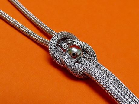 "Picture of ""Bead with Love Knot"" necklace in Italian sterling silver - faux lariat"