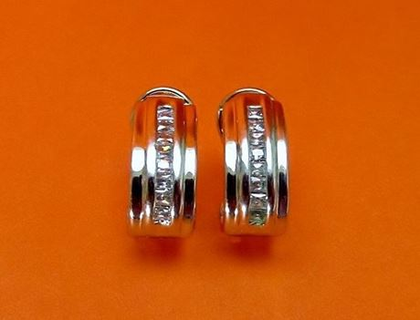 """Picture of """"Fancy Zirconia"""" classic half hoop earrings in sterling silver with a row of square cubic zirconia"""