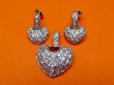 "Picture of ""Fancy pavé heart"" set of pendant and dangle earrings in sterling silver, a heart shape with cubic zirconia"
