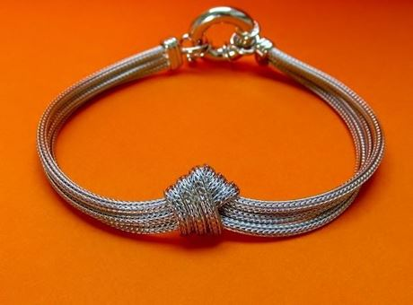 "Picture of ""Mesh Love Knot"" bracelet in Italian sterling silver"