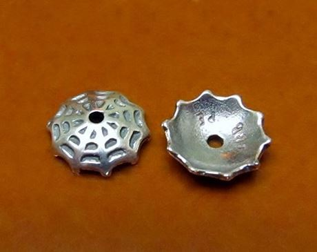 Picture of 10 mm, bead caps, spiderweb, JBB findings, silver-plated pewter, 2 pieces