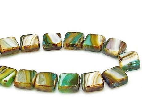 Picture of 10x10 mm, flat square Czech beads, brown-turquoise-lavender striped