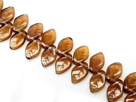 Picture of 12x7 mm, Czech druk beads, wavy leaf, warm topaz brown, transparent