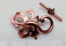Picture of 15x22 mm, toggle clasp, oak leaf, JBB findings, copper-plated brass