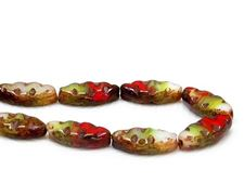 Picture of 18x7 mm, carved, flat spindle-shaped Czech beads, cream-green-red, opaque, picasso, 6 pieces