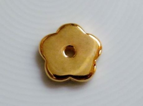 Picture of 19x19 mm, pendant, Greek ceramic daisy, gold-metalized