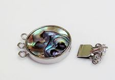 Picture of 21x21 mm, brass clasp, multi-strand slide, 3 rings, silver-plated, inlaid with abalone