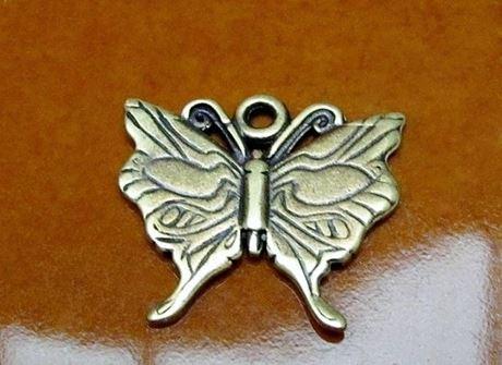 Image de 22x18 mm, le bonheur est un papillon, pendentif-breloque, étain, JBB findings, finition laiton