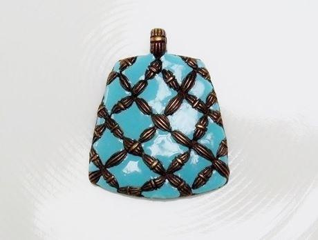 Picture of 41x50 mm, bonded diamonds in brass on turquoise enamel, pendant, Zamak, brass-plated