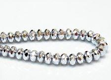 Image de 4x7 mm, perles à facettes tchèques rondelles, cristal, transparent, miroir complet argent