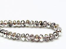 Picture of 4x7 mm, Czech faceted rondelle beads, crystal, transparent, half tone silver mirror