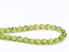Picture of 6x6 mm, Czech faceted round beads, olive green, transparent
