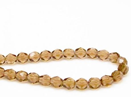 Picture of 6x6 mm, Czech faceted round beads, smoke topaz brown, transparent