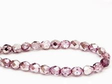 Picture of 6x6 mm, Czech faceted round beads, transparent, lavender pink luster, half tone mirror