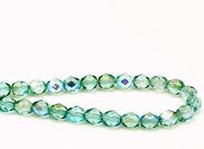 Picture of 6x6 mm, Czech faceted round beads, transparent, light emerald green luster, shimmering