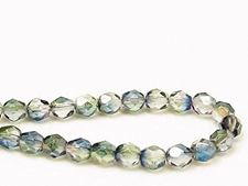 Picture of 6x6 mm, Czech faceted round beads, transparent, variegated muted green and blue luster