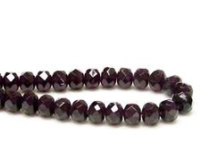 Picture of 6x8 mm, Czech faceted rondelle beads, amethyst black, translucent