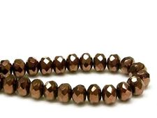 Picture of 6x8 mm, Czech faceted rondelle beads, black, opaque, rusty bronze luster