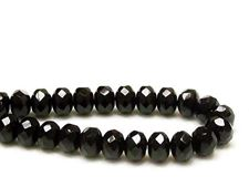 Picture of 6x8 mm, Czech faceted rondelle beads, black, opaque, glossy finishing