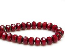 Picture of 6x8 mm, Czech faceted rondelle beads, burgundy red, opaque, black ghost