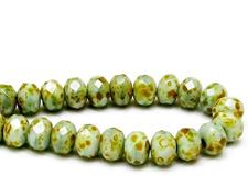 Picture of 6x8 mm, Czech faceted rondelle beads, celadon green, opaque, picasso