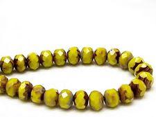 Image de 6x8 mm, perles à facettes tchèques rondelles, jaune citron, opaque, ombre grise-picasso