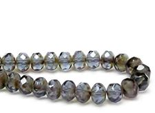 Picture of 6x8 mm, Czech faceted rondelle beads, Montana blue, transparent, picasso