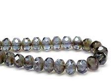 Image de 6x8 mm, perles à facettes tchèques rondelles, bleu gris, transparent, picasso