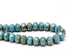 Image de 6x8 mm, perles à facettes tchèques rondelles, bleu turquoise pâle, opaque, ombré or pâle