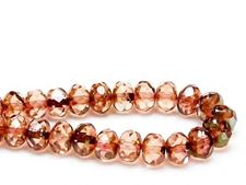 Picture of 6x8 mm, Czech faceted rondelle beads, peachy pink, transparent, golden green picasso