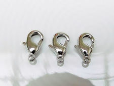 Picture of 6x9 mm, brass clasp, lobster claw, silver-plated, 8 pieces