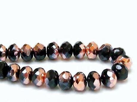 Image de 6x9 mm, perles à facettes tchèques rondelles, noires, opaques, miroir partiel or rose