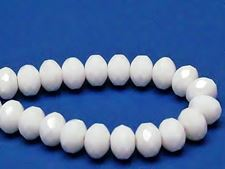 Picture of 6x9 mm, Czech faceted rondelle beads, chalk white, opaque, shimmering