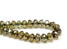 Image de 6x9 mm, perles à facettes tchèques rondelles, cristal, transparent, lustré vert mousse