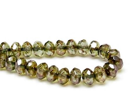 Picture of 6x9 mm, Czech faceted rondelle beads, crystal, transparent, moss green luster