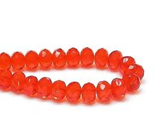 Picture of 6x9 mm, Czech faceted rondelle beads, hyacinth orange, transparent