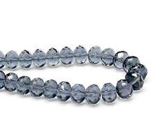 Image de 6x9 mm, perles à facettes tchèques rondelles, bleu gris moyen, transparent