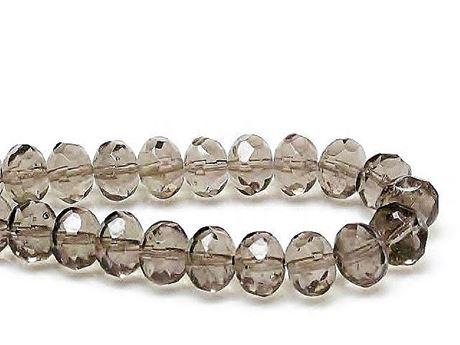 Picture of 6x9 mm, Czech faceted rondelle beads, mysterious haze of smoke grey, transparent
