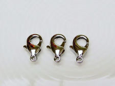 Picture of 7x12 mm, brass clasp, lobster claw, silver-plated, 8 pieces