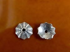 Picture of 8 mm, bead caps, spiderweb, JBB findings, silver-plated pewter, 2 pieces