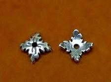 Picture of 8 mm, bead caps, square, JBB findings, silver-plated pewter, 2 pieces