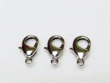 Picture of 8x14 mm, brass clasp, lobster claw, silver-plated, 8 pieces