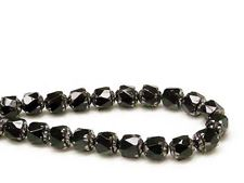 Picture of 8x6 mm, cathedral, Czech beads, black, opaque, silver coated sides