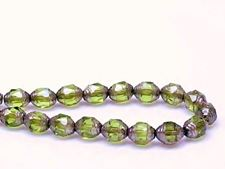 Picture of 8x6 mm, cathedral, Czech beads, olive green, transparent, silver coated sides