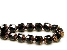 Picture of 8x8 mm, cathedral, Czech beads, black, opaque, rusty bronze sides