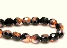 Picture of 8x8 mm, Czech faceted round beads, black, opaque, half tone rose gold mirror