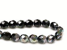 Picture of 8x8 mm, Czech faceted round beads, black, opaque, iridescent luster
