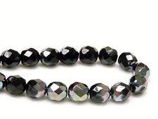 Image de 8x8 mm, perles à facettes tchèques rondes, noires, opaques, lustre irisé