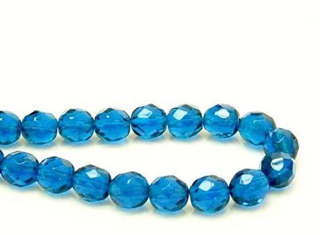 Image de 8x8 mm, perles à facettes tchèques rondes, bleu ciel profond, transparent